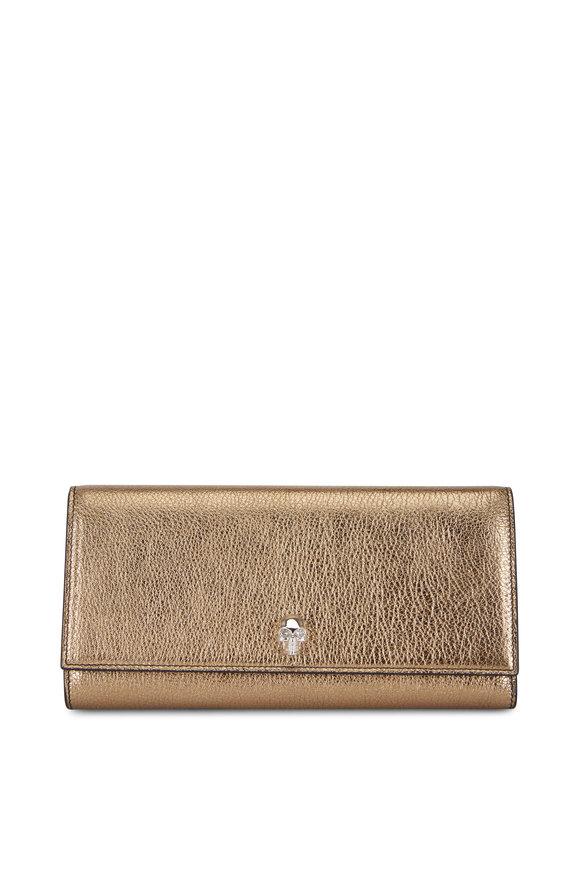 Alexander McQueen Gold Metallic Grained Leather Travel Wallet