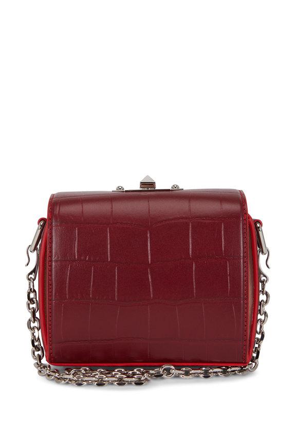 Alexander McQueen Box Bag Wine & Pink Crocodile Chain Bag