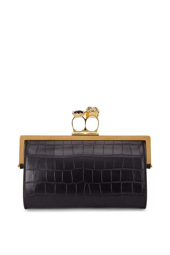 Alexander McQueen Off-White Croc Embossed Double Ring Clutch