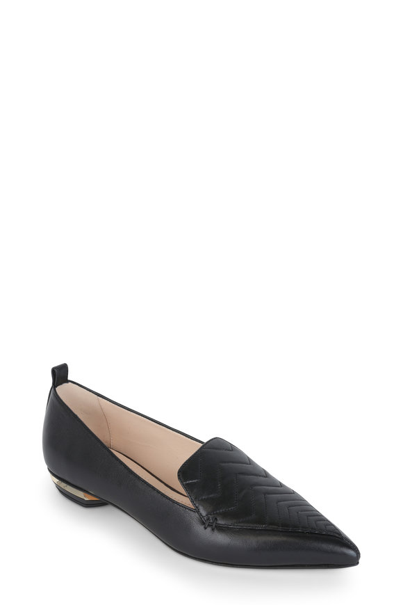 Nicholas Kirkwood Beya Black Quilted Leather Flat