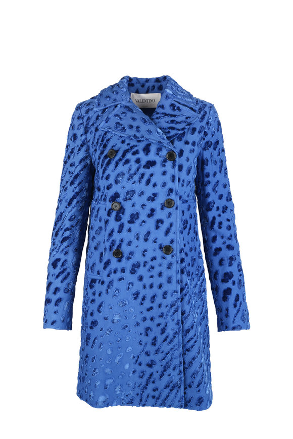 Valentino Blue Tiger Print Velvet Coat