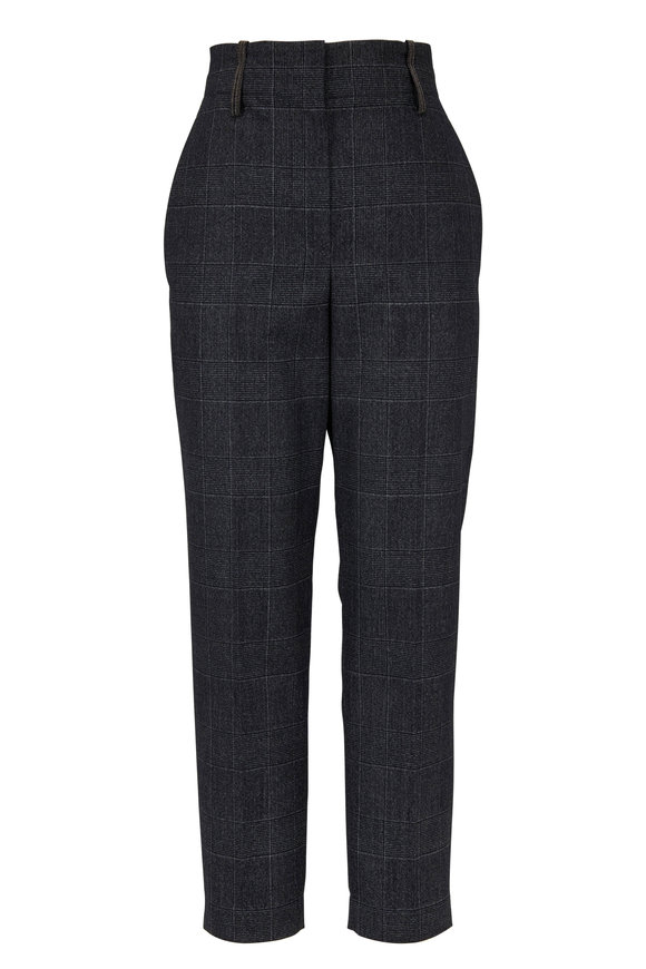 Brunello Cucinelli Charcoal Gray Wool Plaid Monili Belt Loop Pant