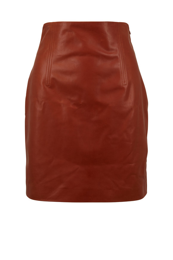 Rosetta Getty Cognac Leather High-Rise Mini Skirt