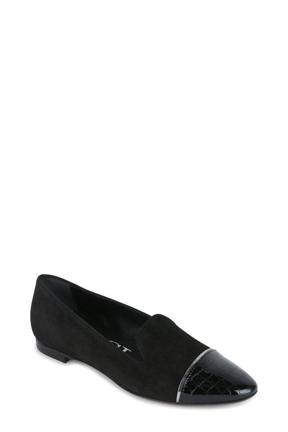 AGL Black Suede Cap-Toe Ballet Flat