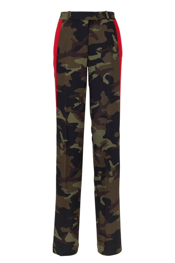 Michael Kors Collection Camo & Red Crepe Cady Striped Track Pant