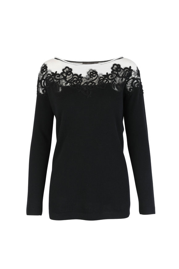 D.Exterior Black & White Cashmere & Wool Blend Sweater