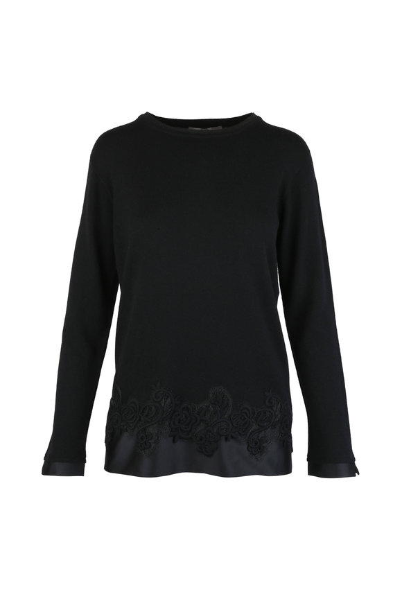 D.Exterior Black Cashmere & Wool Blend Lace Detail Sweater