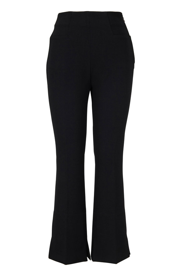 Roland Mouret Goswell Black Crepè Cropped Flare Pant