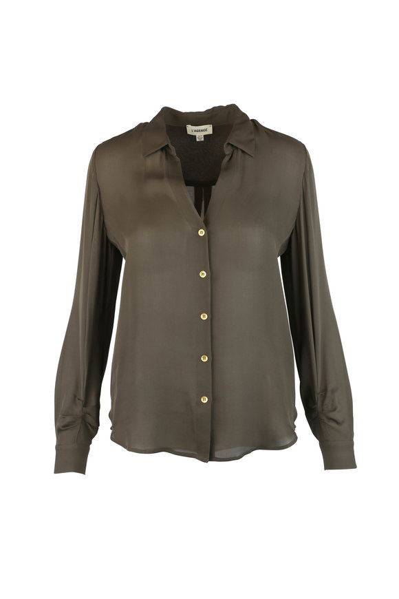 L'Agence Olive Green Silk Blouse