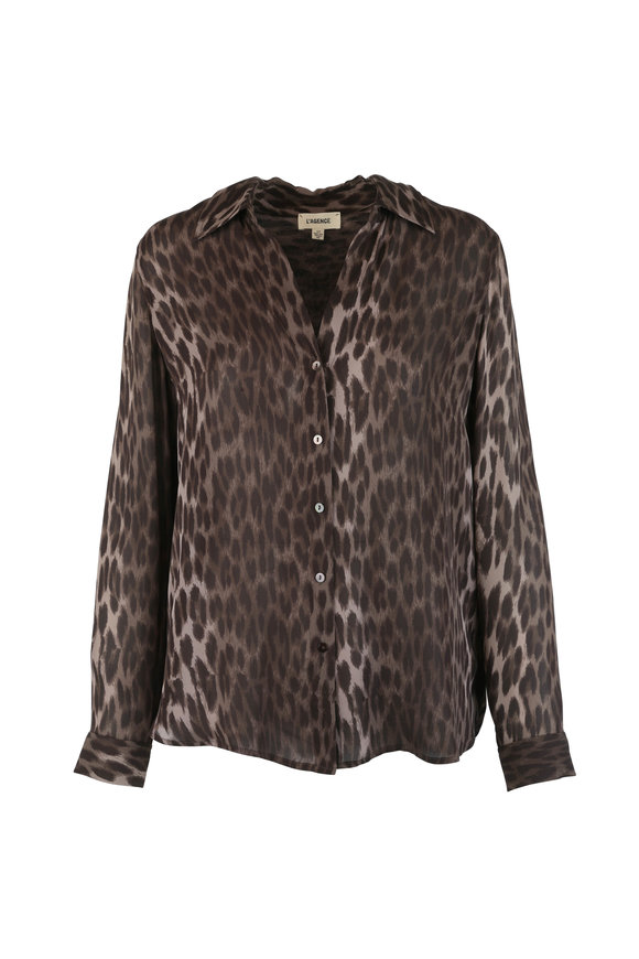 L'Agence Olive Green Animal Print Silk Blouse