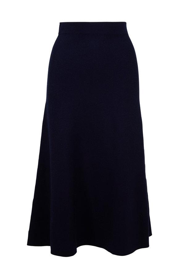 Gabriela Hearst Freddie Navy A-Line Knit Skirt