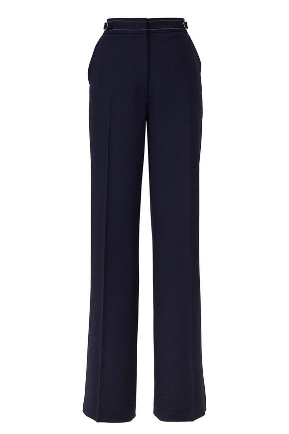 Gabriela Hearst Vesta Navy Contrast Stitch Wide Leg Pant