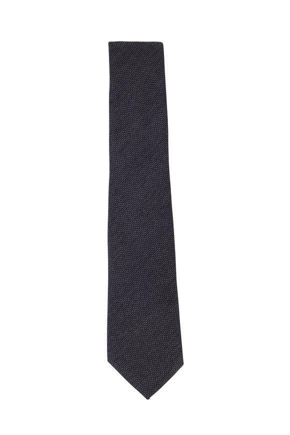 Charvet Dark Gray Textured Wool & Silk Necktie