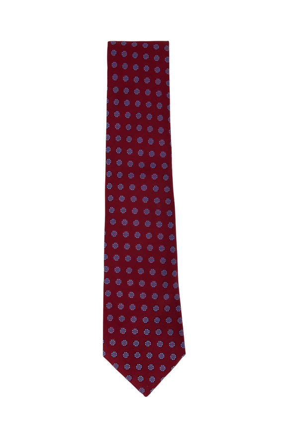 Charvet Burgundy & Blue Geometric Circle Silk Necktie