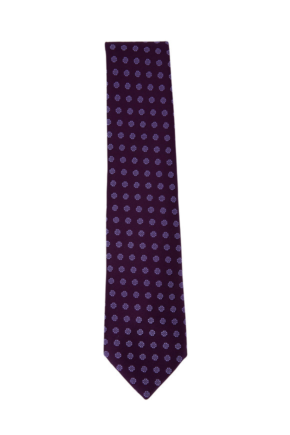 Charvet Purple Tonal Geometric Circle Silk Necktie