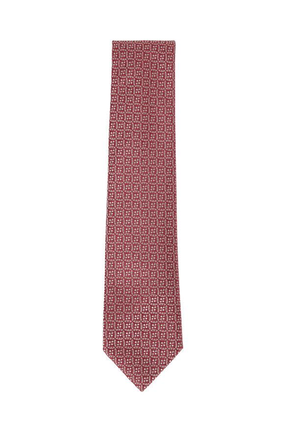 Charvet Pink Geometric Silk Necktie