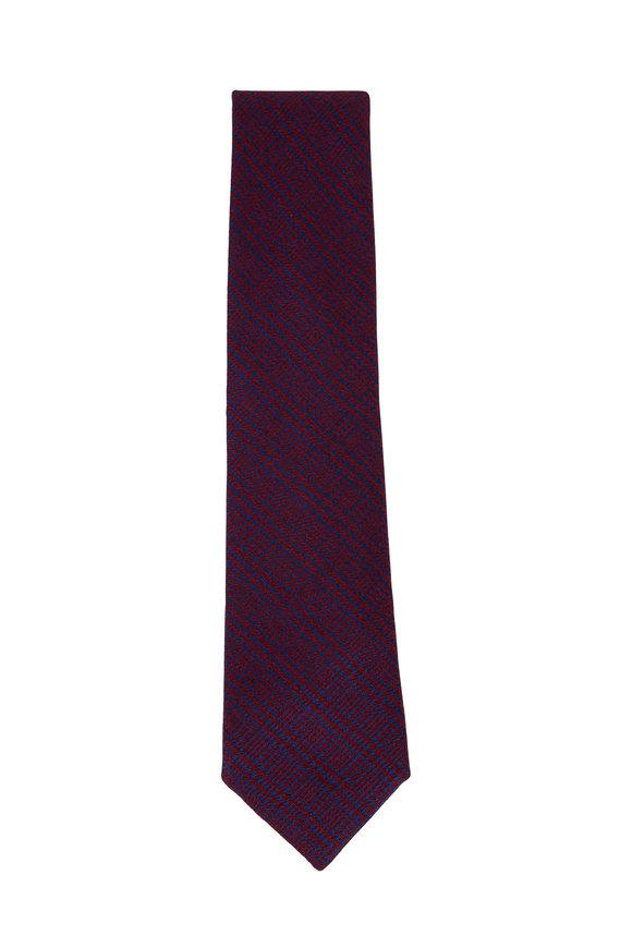 Charvet Burgundy & Blue Houndstooth Pattern Silk Necktie