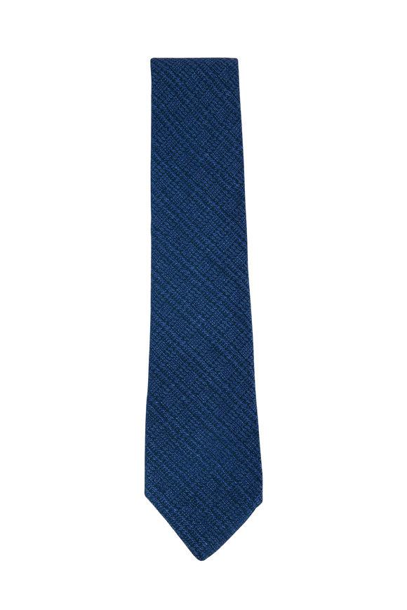 Charvet Blue Houndstooth Pattern Silk Necktie