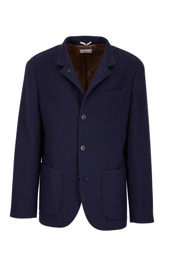 Brunello Cucinelli Dark Blue Cashmere Patch Pocket Blazer