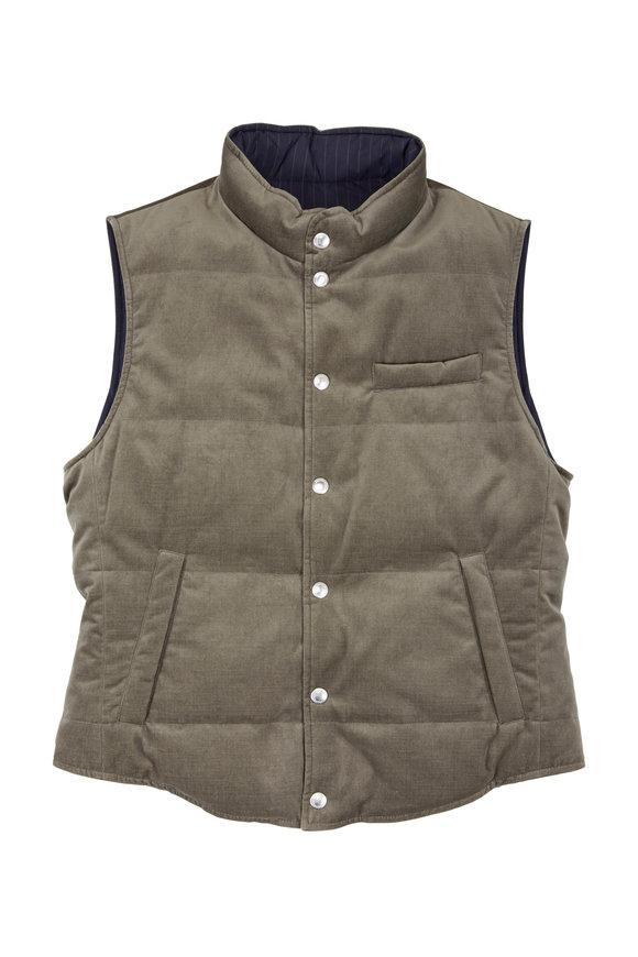 Brunello Cucinelli Olive Velvet & Navy Pinstripe Reversible Down Vest