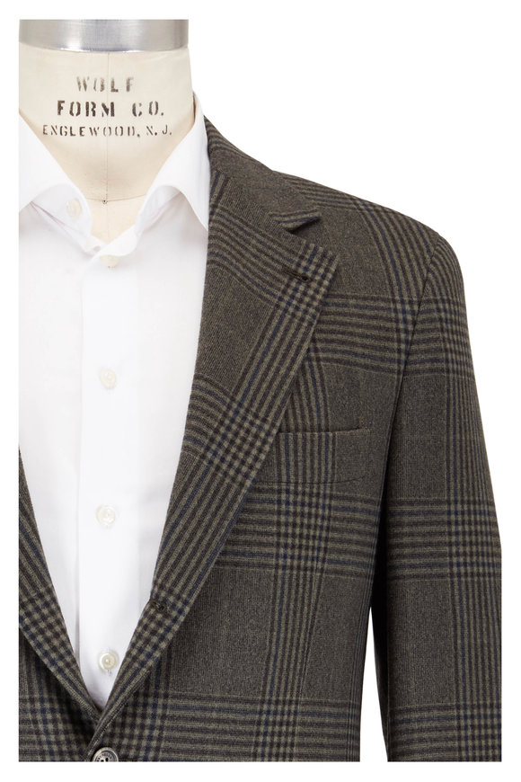Brunello Cucinelli Military Plaid Wool & Cashmere Sportcoat