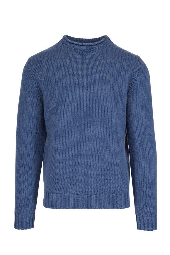 04651/ Blue Cashmere Mock Neck Sweater