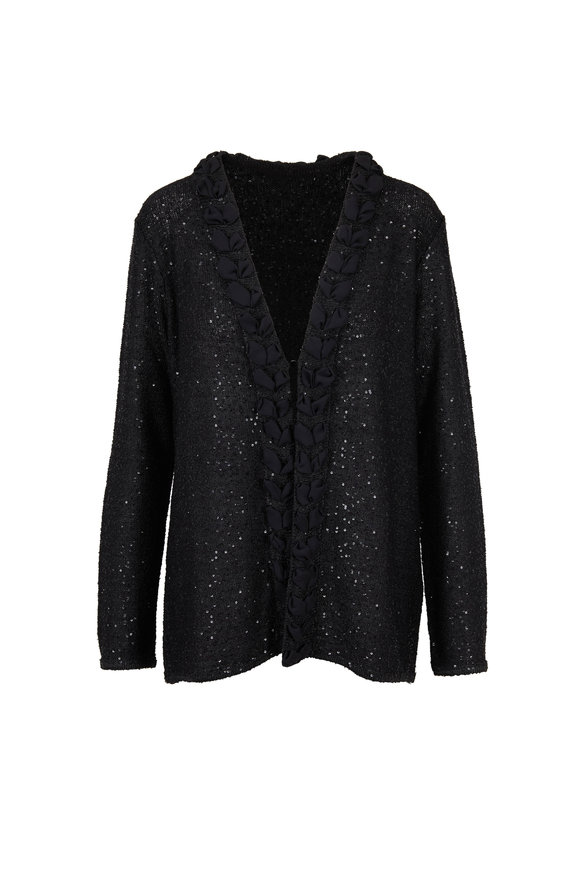 Emporio Armani Black All-Over Sequin Cardigan