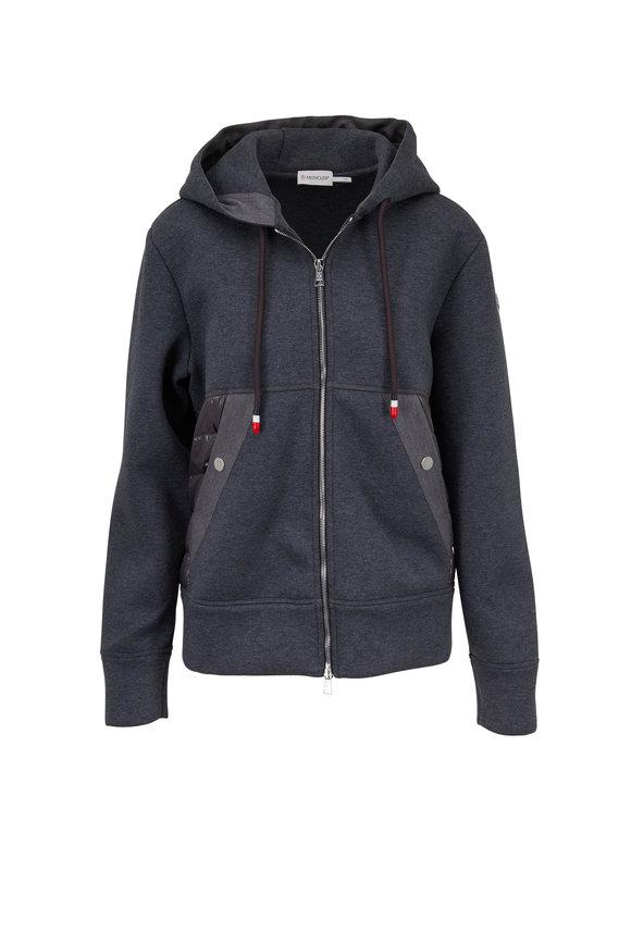 Moncler Maglia Gray Mixed-Media Hooded Zip Sweatshirt