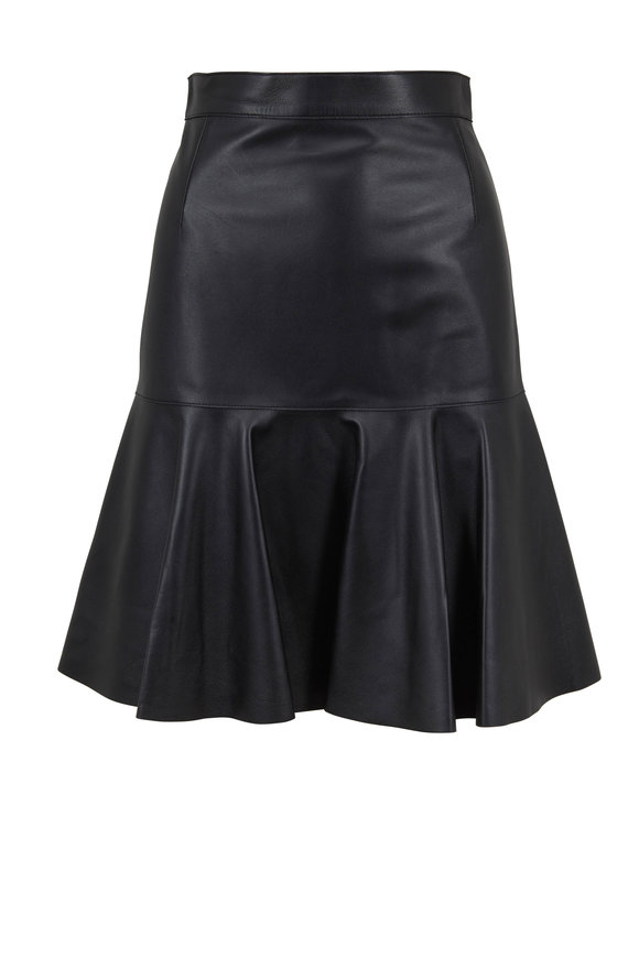 Akris Punto Black Ruffled Leather Mini Skirt