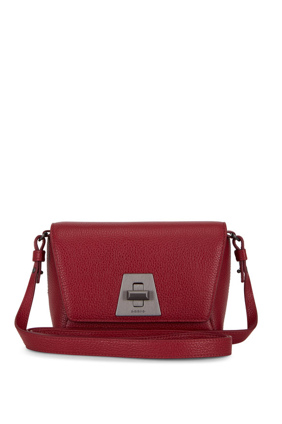 Akris Anouk Little Day Crimson Leather Crossbody