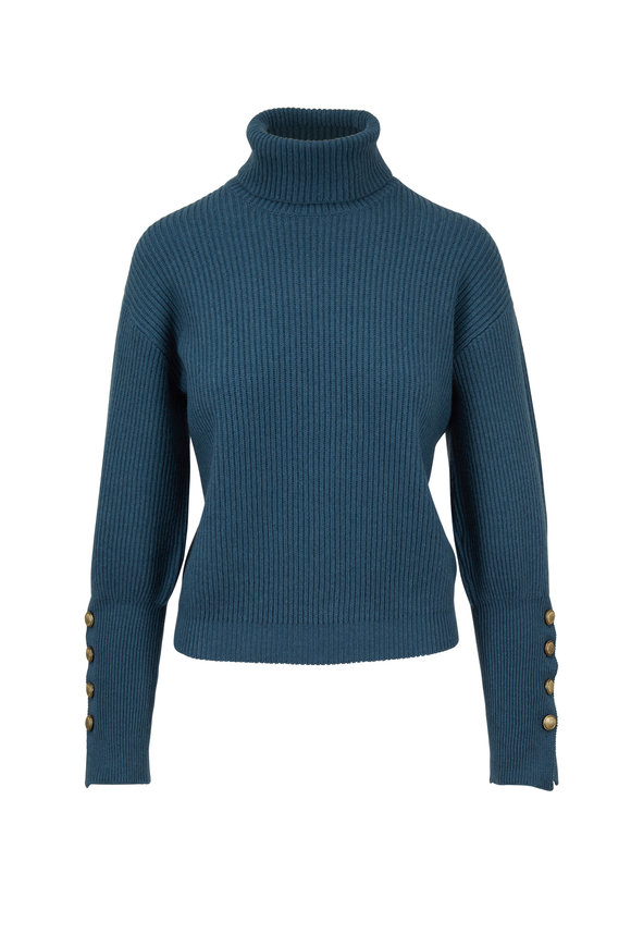 Brunello Cucinelli Peacock Cashmere English Rib Sweater