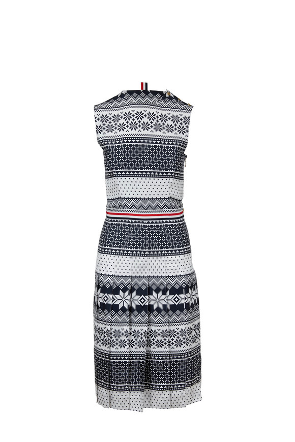 Thom Browne Navy & White Fair Isle Print Silk Sleeveless Dress