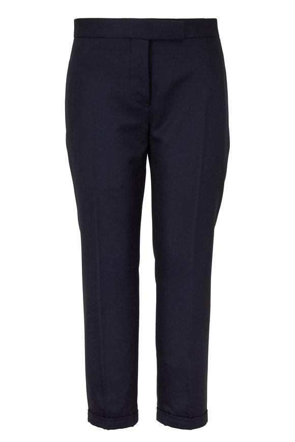 Thom Browne Navy Blue Wool Low-Rise Skinny Pant