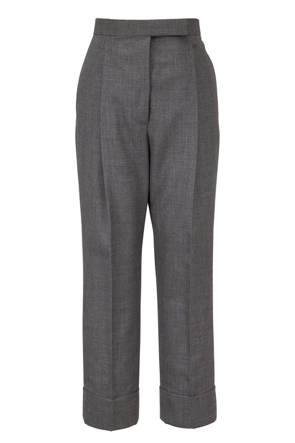 Thom Browne Gray Wool High-Rise Cuffed Pant