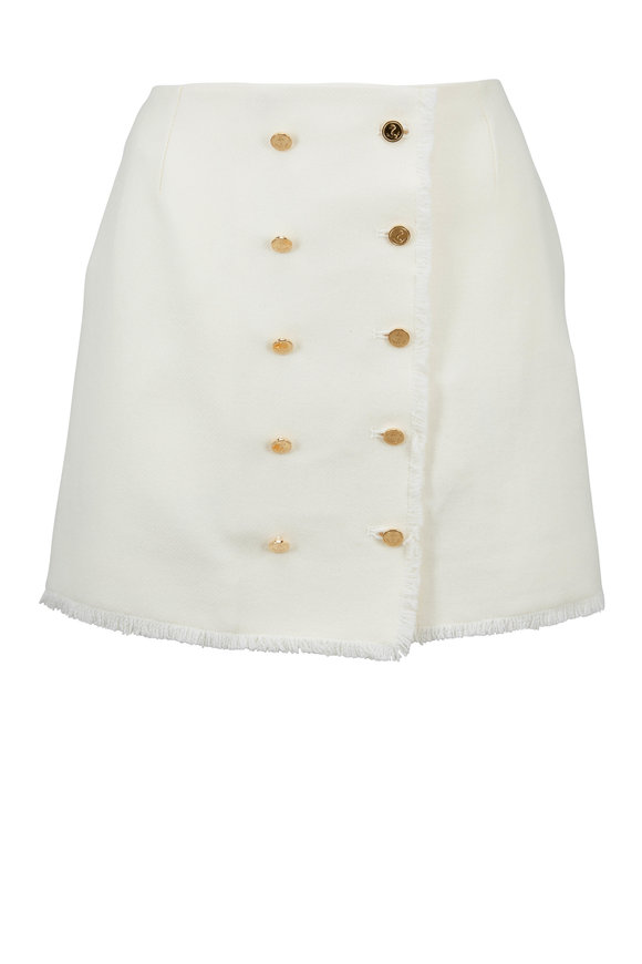 Thom Browne Cream Frayed Donegal Wool Mini Skirt