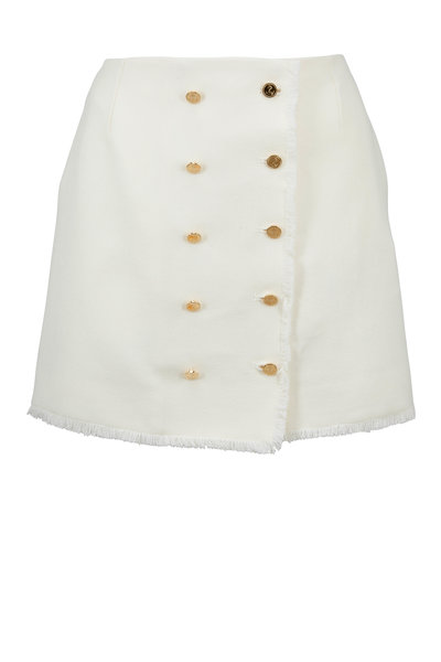 Thom Browne - Cream Frayed Donegal Wool Mini Skirt