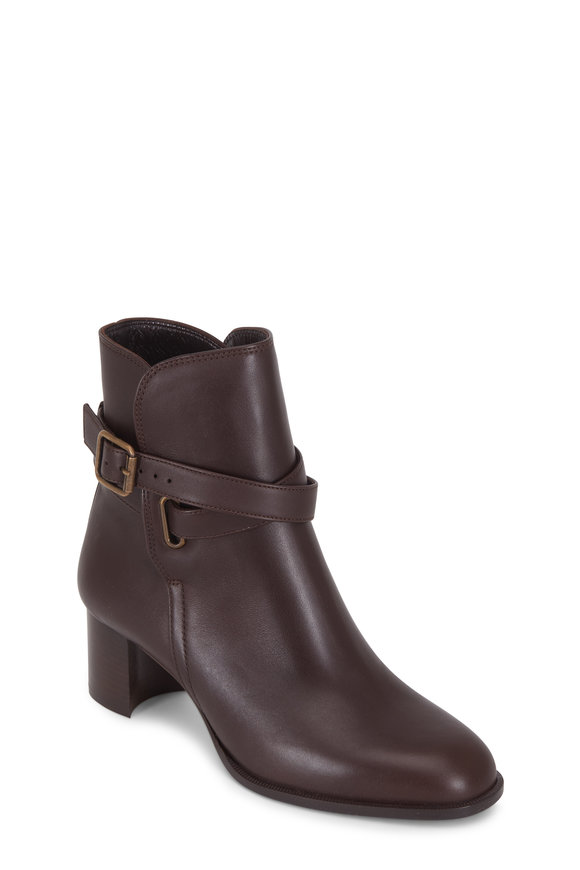Manolo Blahnik Sulga Dark Brown Leather Ankle Boot, 50mm