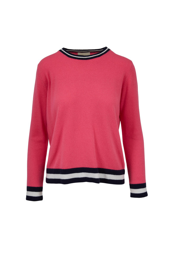 Jumper 1234 Tulip & Navy Racing Striped Crewneck Sweater