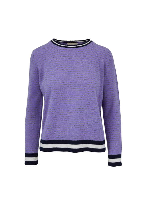 Jumper 1234 Purple & Gray Striped Cashmere Crewneck Sweater