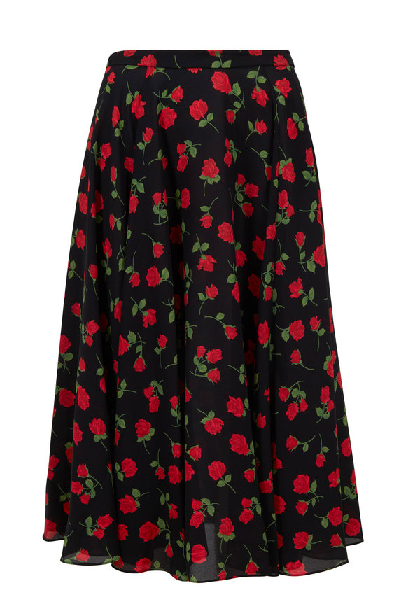 Michael Kors Collection Crimson Silk Rose Printed Dance Skirt