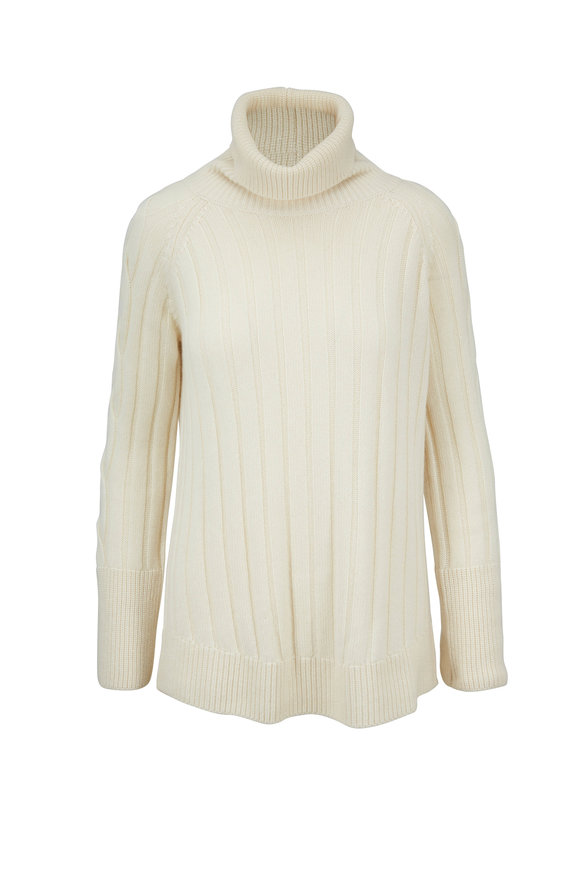 Rani Arabella Ivory Cashmere Rib & Cable Knit Turtleneck Sweater
