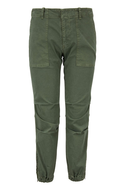 Nili Lotan - Camo Green Twill Cropped Military Pant