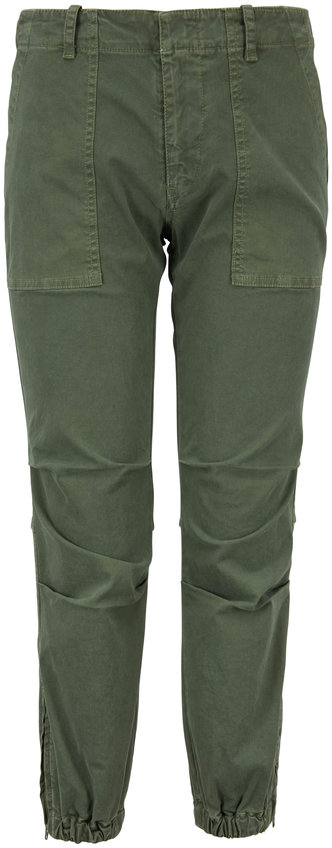 Nili Lotan Camo Green Twill Cropped Military Pant