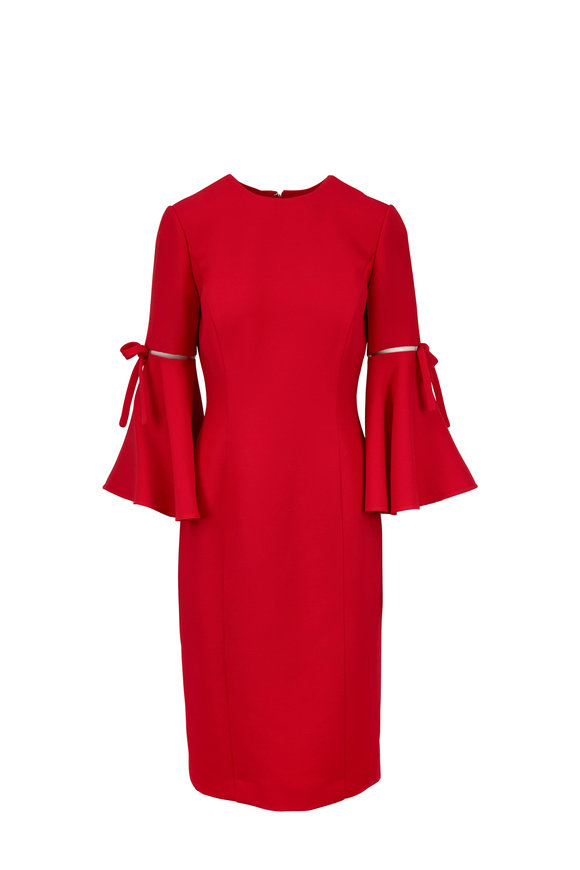 Oscar de la Renta Red Wool & Silk Flutter Sleeve Midi Dress