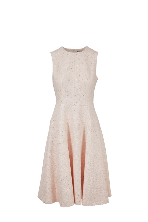 Lela Rose Petal Pink Sequin Tweed Dress