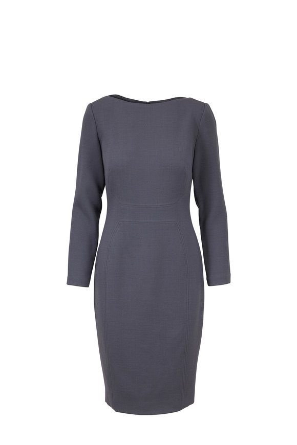 Lela Rose Smoke Gray Long Sleeve Fitted Dress
