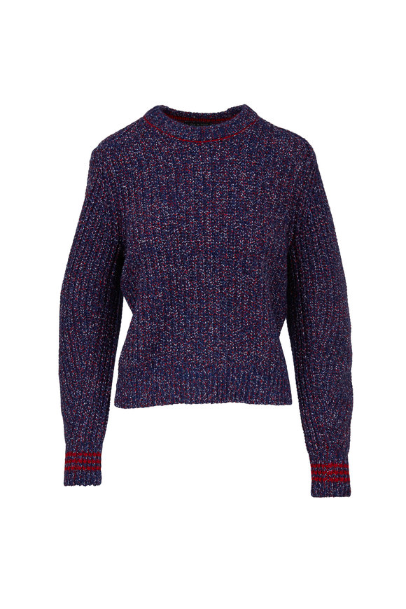 Rag & Bone Cheryl Navy & Red Crewneck Sweater