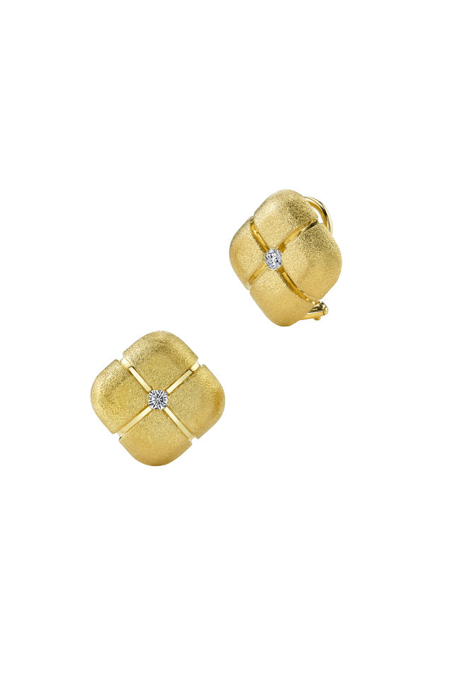 Gold Diamond Square Pillow Earrings