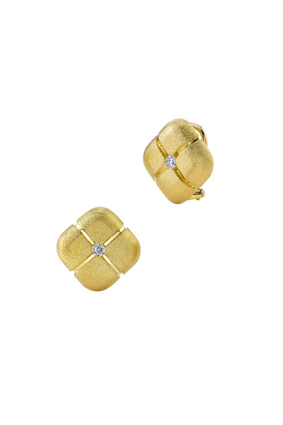 Aaron Henry - Gold Diamond Square Pillow Earrings