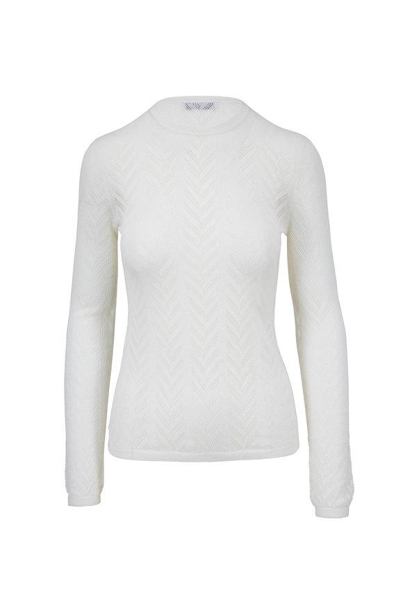 Gabriela Hearst Julia Ivory Herringbone Knit Sweater